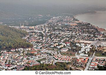 Aerial view of Kemer city, Antalya province, Turkey