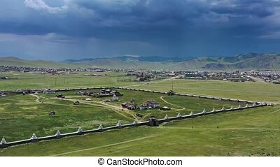Aerial view of the Kharkhorin Erdene Zuu Monastery in Kharkhorin (Karakorum), Mongolia. Karakorum was the capital of the Mongol Empire between 1235 and 1260, 4k