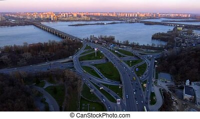 Aerial view of Kiev, capital of Ukraine in sunset lights.