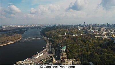 Aerial view of Kiev in clear sunny weather, kontraktova...
