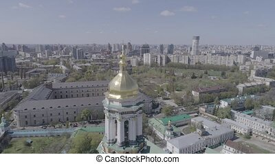 Aerial view of Kiev Pechersk Lavra in autumn, Kiev, Kyiv, Ukraine.