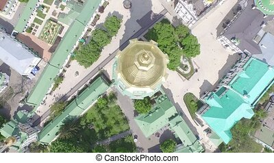 Aerial view of Kiev Pechersk Lavra, Kiev, Ukraine, top view
