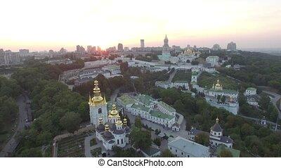 Aerial view of Kiev-Pechersk Lavra monastery, Ukraine. Video...