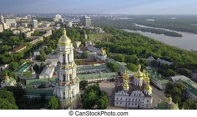 Aerial view of Kiev-Pechersk Lavra Ukrainian Orthodox...