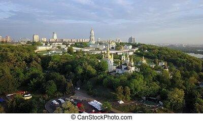 Aerial view of Kiev-Pechersk Lavra Ukrainian Orthodox...