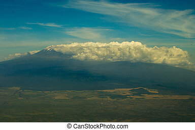 Aerial View of Kilimanjaro - Cloudy View of Kilimanjaro from...