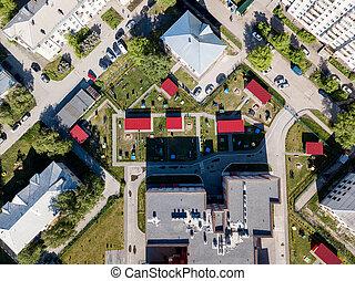 Aerial view of Kindergarten in green area in the city