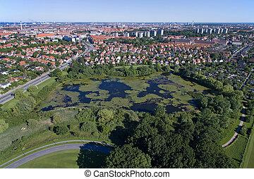 Aerial view of Kirkemosen, Denmark