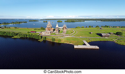 Aerial view of Kizhi island