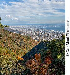 Aerial view of Kobe City from Mount Maya in Colorful season, Japan