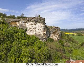 Aerial view of Kovan Kaya - Ancient Thracian sanctuary at Rhodope Mountains, Haskovo region,  Bulgaria