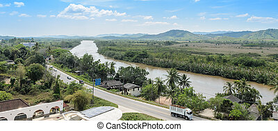 Aerial view of Kra Buri River - Kho Khot Kra or Kra Isthmus...