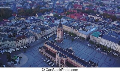 Aerial view of Krakow historic market square, Poland,...