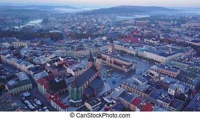 Aerial view of Krakow historic market square, Poland,...