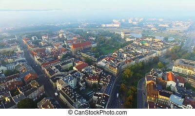 Aerial view of Krakow, Poland, central Europe at morning. -...