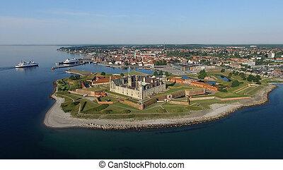 Aerial view of Kronborg Castle, Denmark - Helsingoer,...