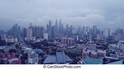 Aerial view of Kuala Lumpur during hazy day. Kuala Lumpur is...