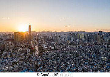 kunming city in sunset - aerial view of kunming city in ...