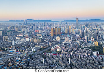 aerial view of kunming city scene in sunrise, yunnan ...