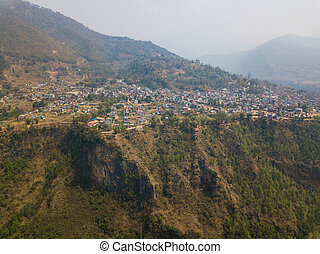 Aerial view of Kusma in Nepal