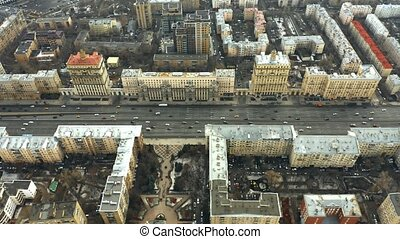Aerial view of Kutuzovsky Prospekt, a major radial avenue in...