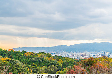 Aerial view of Kyoto City from Kiyomizu-dera in Autumn season.