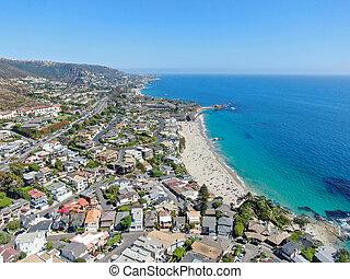 Aerial view of Laguna Beach coastline, California