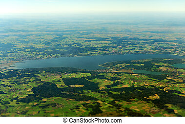 Aerial view of lake Ammer in Upper Bavaria, Germany.