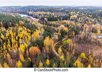 Aerial view of lake and colorful forests on a autumn day in Finland. Drone photography