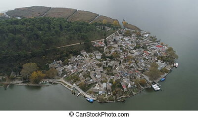 Aerial view of lake and island Ioannina Greece - Aerial view...