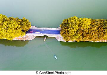lake embankment in autumn