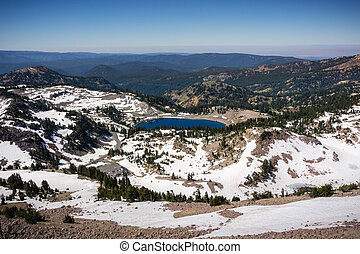 Aerial view of Lake Helen and the surrounding valley as seen...