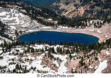 Aerial view of Lake Helen as seen from the trail to Lassen ...