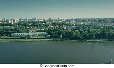 Aerial view of Lake Malta and Poznan citycape, Poland -...
