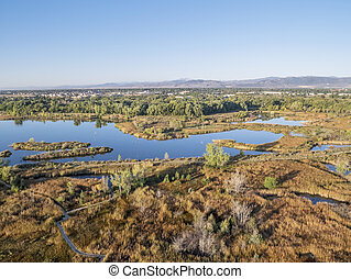 aerial view of lake natural area - aerial view of Riverbend ...