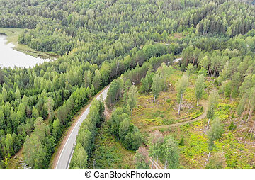 Aerial view of lake, road and forest on a summer sunny day in Finland. Drone photography