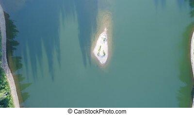 Lake Synevir in Carpathian Mountains in Ukraine - Aerial ...