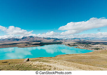Aerial view of Lake Tekapo from Mount John Observatory in Canterbury