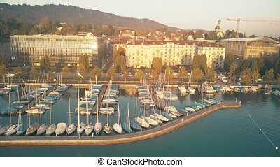 Aerial view of lake Zurich marina and moored sailboats inthe...