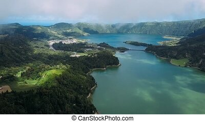 Aerial view of lakes in Sete Cidades volcanic craters on San...