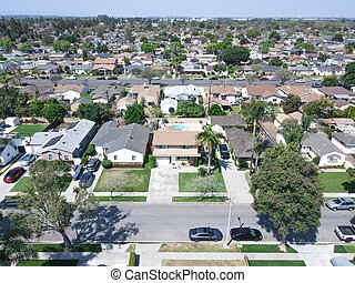 Aerial view of Lakewood middle class neighborhood, city in Los Angeles County, California