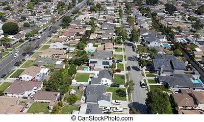 Aerial view of Lakewood middle class neighborhood, city in Los Angeles County, California, United States.