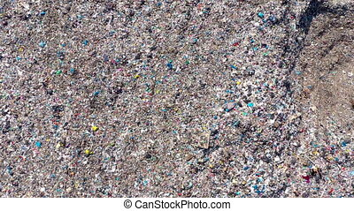 Aerial view of large landfill. Waste garbage dump,...