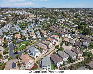 Aerial view of large-scale villa in wealthy residential town Encinitas, California