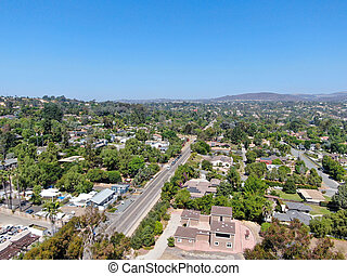 Aerial view of large-scale wealthy residential villa in South California