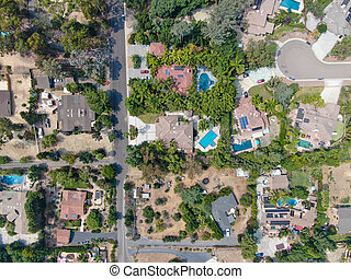 Aerial view of large-scale wealthy residential villa with swimming pool