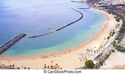 Las Teresitas beach, Tenerife - aerial view of Las Teresitas...