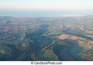 Aerial view of Lazio coastline at dawn