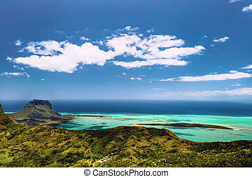 Aerial view of Le Morne Brabant mountain which is in the ...