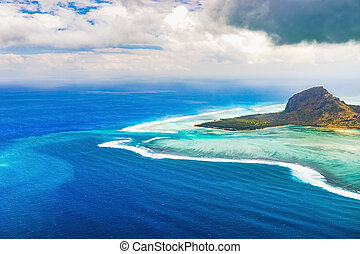 Aerial view of Le Morne Brabantl. Mauritius - Aerial view of...